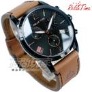 RELAX TIME 型男 經典羅馬三眼時尚腕錶 計時碼錶 日期視窗 真皮 IP黑電鍍x棕色 男錶 RT-67-5