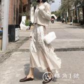 長裙 新品秋季女裝百搭絲絨雪紡拼接高腰半身裙氣質中長不規則荷葉邊裙