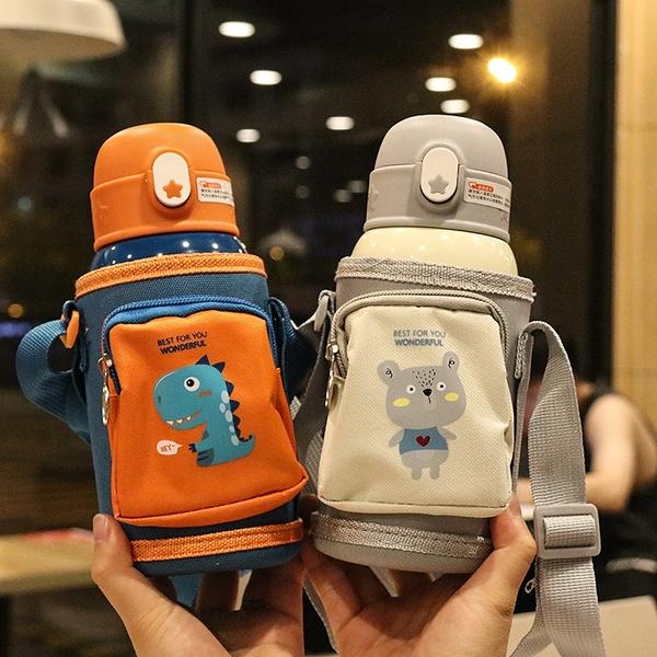 兒童口袋杯套便攜卡通雙蓋316不銹鋼保溫杯防噴吸管杯小孩喝水壺