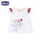 chicco-花朵瓢蟲-荷葉短袖上衣