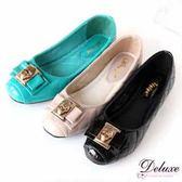 【☆Deluxe ☆】OL 最愛菱格紋蝴蝶結飾扣平底包鞋黑米藍