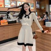 超殺29折 韓系蝴蝶結針織小香風毛衣裙套裝長袖裙裝