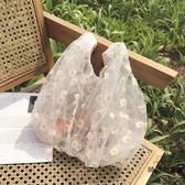 單肩包蕾絲透明購物袋水桶手提雛菊女包包購物袋【時尚大衣櫥】