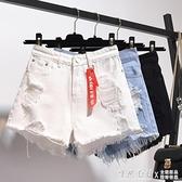 高腰牛仔短褲女2020年夏季新款寬鬆破洞大碼胖mm闊腿a字熱褲子潮 怦然心動