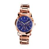 【Relax Time】三眼系列個性時尚腕錶-玫金藍/R0800-16-36/台灣總代理公司貨享一年保固
