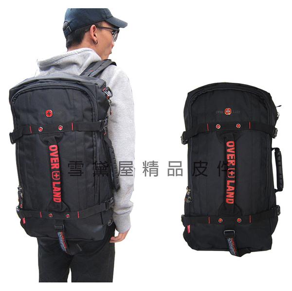 ~雪黛屋~OVER LAND 後背旅行袋多功能可A4資料夾可後背手提肩背斜側背可14吋電腦防水尼龍布T2745