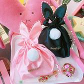 拉面丸子日系甜美可愛立體兔耳朵抽繩刺繡束口袋收納袋毛球化妝包