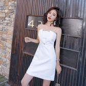 性感洋裝  新款修身氣質晚禮服吊帶宴會白色抹胸連身裙  格林世家