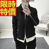 夾克外套 太空棉-日系復古純色時尚男翻領外套65ac14[巴黎精品]