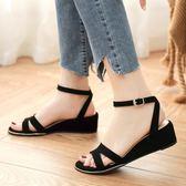 楔形鞋.MIT優雅線條雙條扣環楔形涼鞋.白鳥麗子