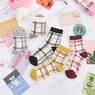 日系韓版秋冬復古彩色格子棉襪女士學院風ins風中筒襪長襪