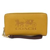 【COACH】大馬車LOGO手掛式拉鍊零錢袋長夾手拿包(黃)