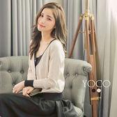 東京著衣【YOCO】小香氣質開襟珍珠排釦撞色針織外套-S.M.L(180185)