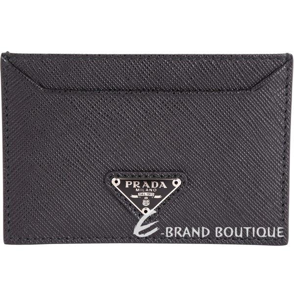 PRADA Saffiano 三角牌防刮牛皮萬用卡片夾(黑色) 1711000-01