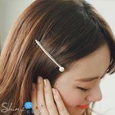 【DJB2315】shiny藍格子-水鉆珍珠一字髮夾