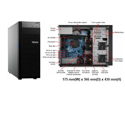 Lenovo ST250 (7Y45A01CCN) 3.5吋熱抽直立式伺服器【Intel Xeon E-2124G / RAID 530‑8i(支援 Raid-0/1/10/5)】