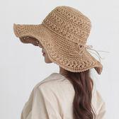 海灘帽 沙灘帽子女夏海邊草帽手工鏤空大檐遮陽帽文藝清新戶外折疊太陽帽 芭蕾朵朵