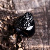 天然黑曜石貔貅戒指招財轉運吸金水晶扳指男女大氣復古珠寶首飾品