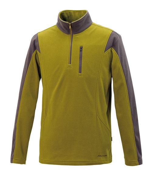 ╭OUTDOOR NICE╮維特FIT 男款雙刷雙搖撞色保暖上衣 HW1111 芥末黃 保暖舒適 中層衣 發熱衣 刷毛衣