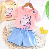 女童夏套裝 女童夏裝小童衣服2020洋氣網紅兒童套裝幼兒T恤兩件套童裝【快速出貨】