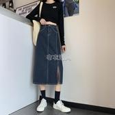 秋冬季新款高腰牛仔半身裙女大碼胖mm寬鬆顯瘦學生百搭側開叉 【快速出貨】
