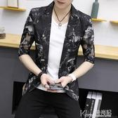 青年夏季男士七分袖西服男休閒外套韓版修身中袖鏤空帥氣小西裝潮