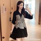 2021春秋新款韓版收腰綁帶蝴蝶結條紋馬甲拼接假兩件襯衫洋裝女 蘿莉新品
