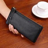 頭層皮質新款皮質長款女士錢包卡手機包軟皮超薄簡約錢夾拉?包男