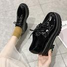 牛津鞋/紳士鞋 複古百搭學生厚底單鞋 鬆糕底軟妹系帶漆皮小皮鞋英倫風 店慶降價