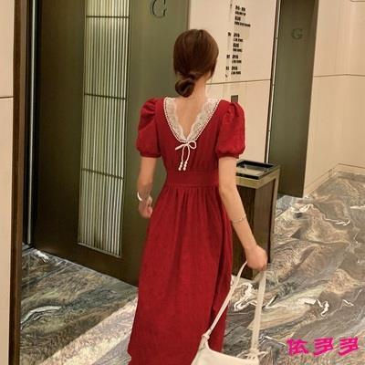 大碼女裝法式復古收腰顯瘦正反兩面穿長裙連身裙
