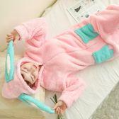 卡通連體睡衣甜美可愛家居服珊瑚絨動物套裝