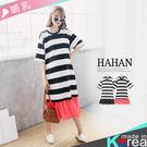 【HC4794】哺乳衣條紋荷葉裙襬拼接洋裝
