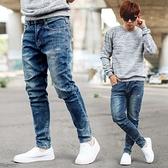 微刷色小抓破造型抽鬚合身版彈性牛仔褲【NB1130J】