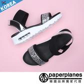 涼鞋 正韓製 輕夏LOOK  時尚亮鑽 彈性繃帶 舒壓氣墊 健走鞋 【B7900242】2色 韓國品牌紙飛機