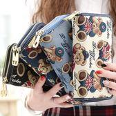 手拿包女長款皮夾女士錢包新款日韓版拉鏈多功能手拿包女可愛風(黑色地帶)