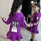 女童連帽T恤 中大童女童秋裝新款韓版連帽T恤兒童洋氣秋冬連帽洋裝中長款加絨 果寶時尚
