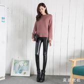 大尺碼皮褲 新款薄款外穿高腰啞光加絨打底褲緊身小腳褲 QQ11893『東京衣社』