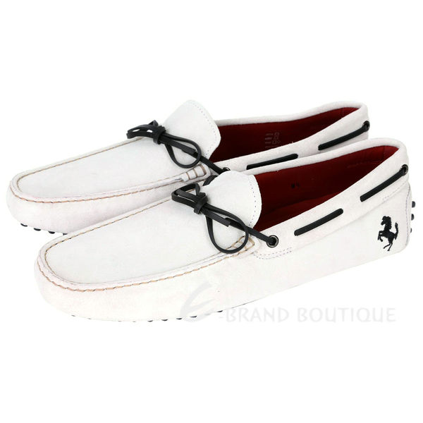 TOD'S FOR FERRARI GOMMINO 麂皮豆豆休閒鞋(灰白色) 1620003-20
