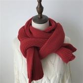 韓版ins毛線針織圍巾女秋冬季加厚保暖圍脖學生純色潮紅色百搭款