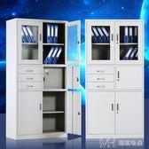 辦公文件柜帶鎖玻璃鐵皮柜子儲物柜a4檔案柜資料更衣柜書柜小矮柜  瑪奇哈朵