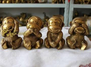 開光銅猴四不猴擺件