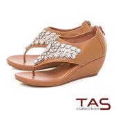 TAS 華麗水鑽夾腳楔型涼鞋-質感卡其