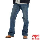 【BOBSON】男款立體褶痕小喇叭褲(藍53)