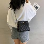 斜背包法國小眾高級感包包2019小ck女包限定洋氣時尚斜背菱格錬條包 嬡孕哺