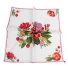 Sybilla 花卉印花純綿帕領巾(紅白色)