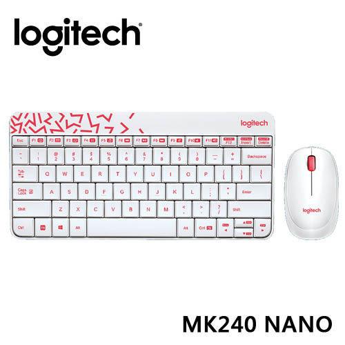 【台中平價鋪】全新 羅技 Logitech 無線滑鼠鍵盤組 MK240 Nano 無線鍵鼠組 - 白色/紅邊