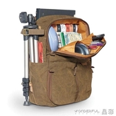 相機包 多功能後背相機包帆布戶外休閒旅行書包防水電腦單反背包