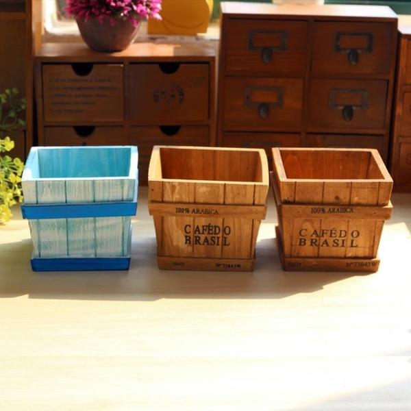 [超豐國際]多肉植物木質花盆木盒 女生化妝品整理盒 復古梯形1入