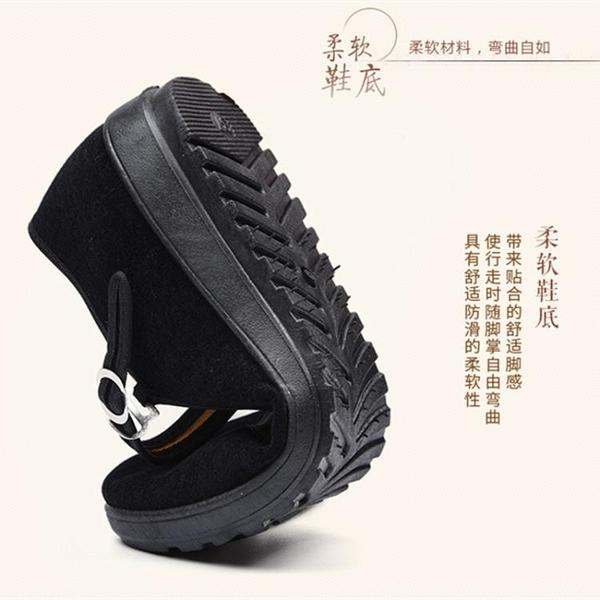 老北京布鞋女黑色平底透氣工作鞋一字帶媽媽鞋透氣防滑廣場舞鞋軟