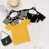 夏裝韓版一字領吊帶露肩上衣黑色t恤女短袖漏肩甜美韓版 港仔會社